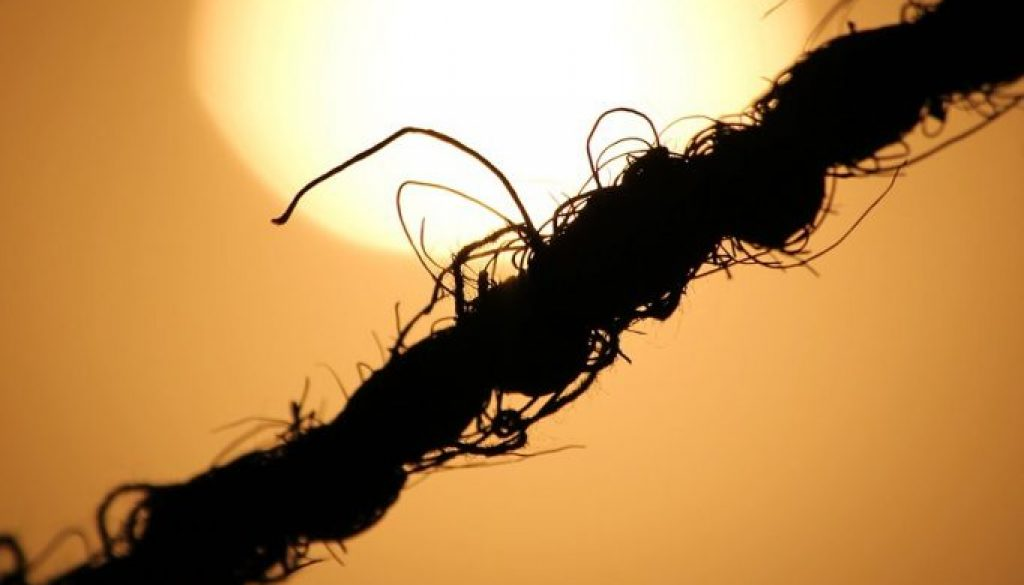 Rope silhouette across heart-shaped sun