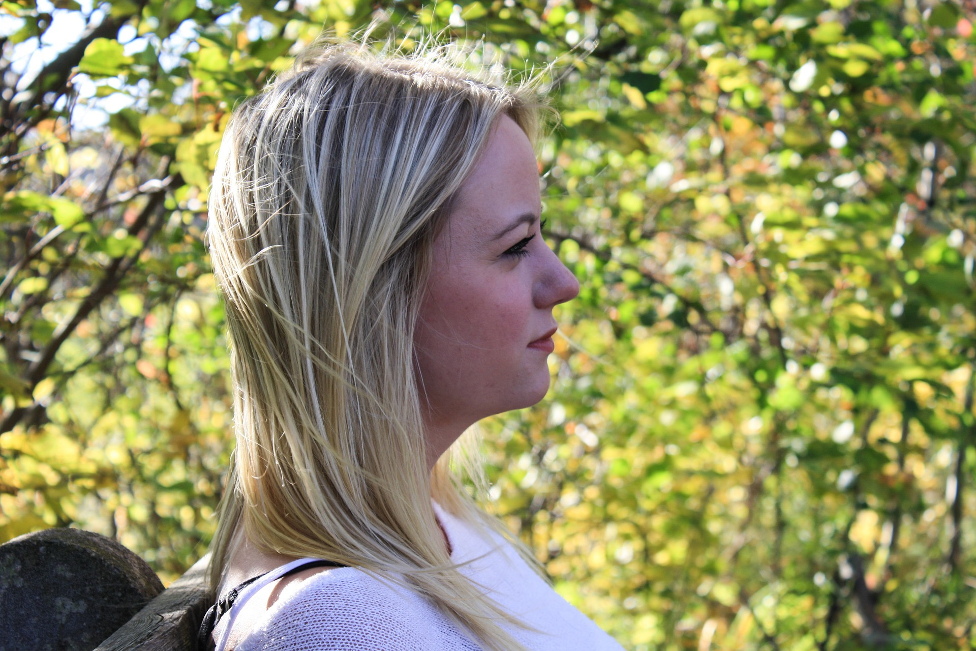 Side profile of blonde woman